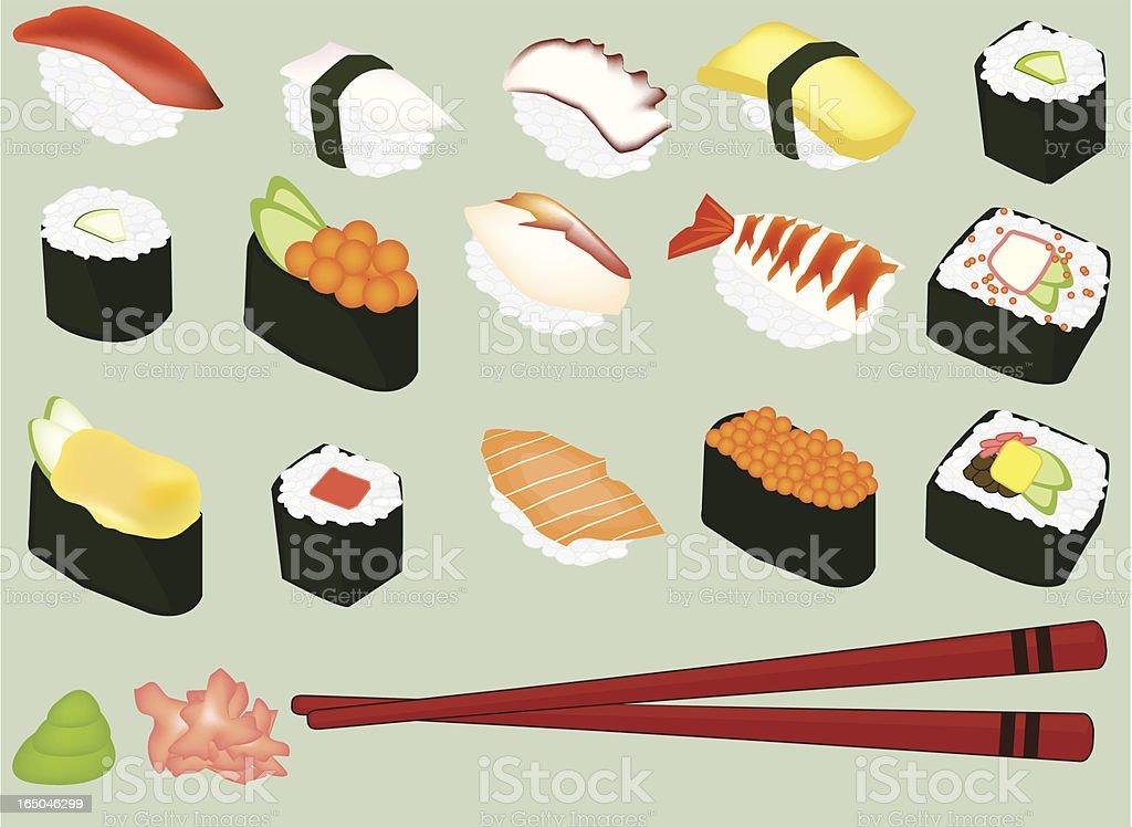 Sushi - ilustración de arte vectorial