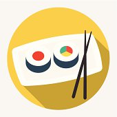 Sushi with chopsticks on a plate