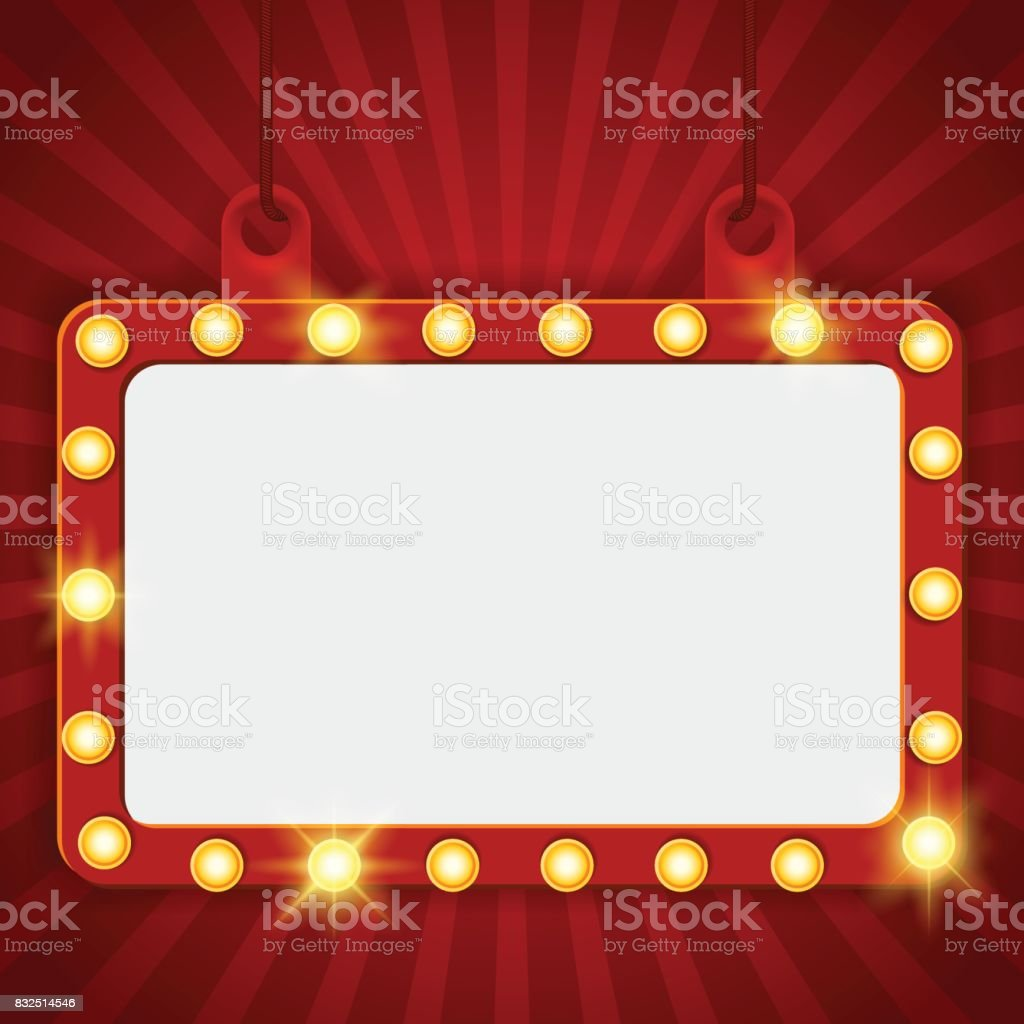 Suspended glowing Cinema billboard. Vector illustration. Signboard-background with lamps along the border for lottery, casino, poker, roulette