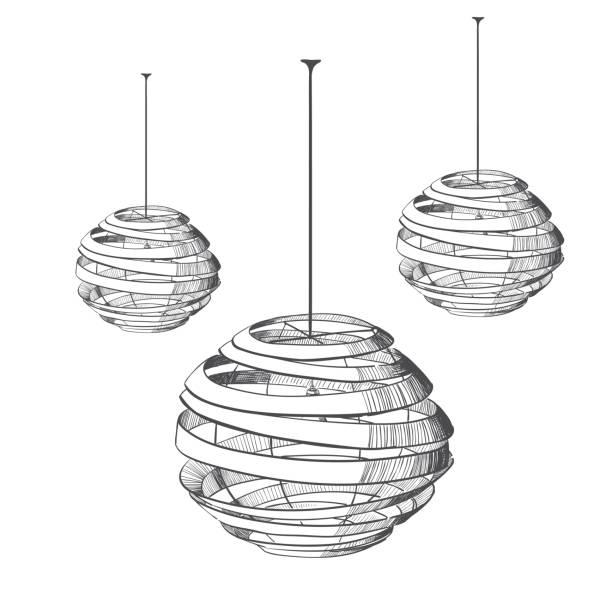 Aufgehängte isolierte Lampe. – Vektorgrafik