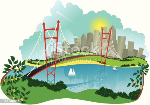 Isolated illustration of a suspension bridge leading over a river, to a city in the distance. A couple of boats can be seen on the river.