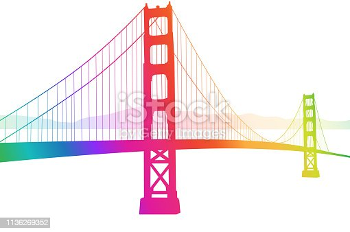 istock Suspension Bridge Rainbow 1136269352