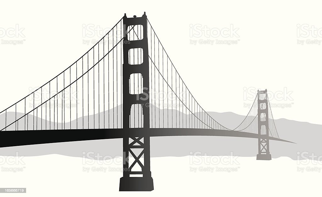 Suspension Bridge Vector Silhouette vector art illustration