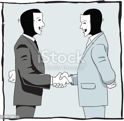 Two masked bussiness men handshaking.