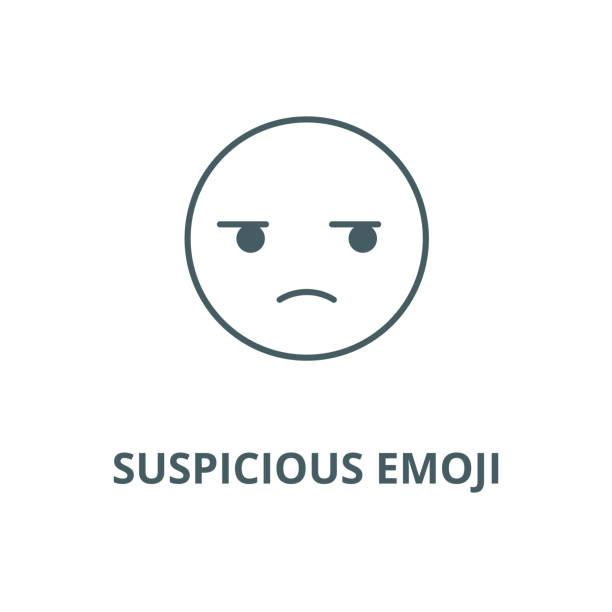 ilustraciones, imágenes clip art, dibujos animados e iconos de stock de icono de línea vectorial de emoji sospechoso, concepto lineal, signo de contorno, símbolo - emoji celoso