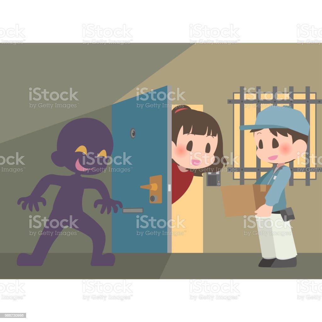 ドアの死角に隠れている不審な人物 ベクターアートイラスト
