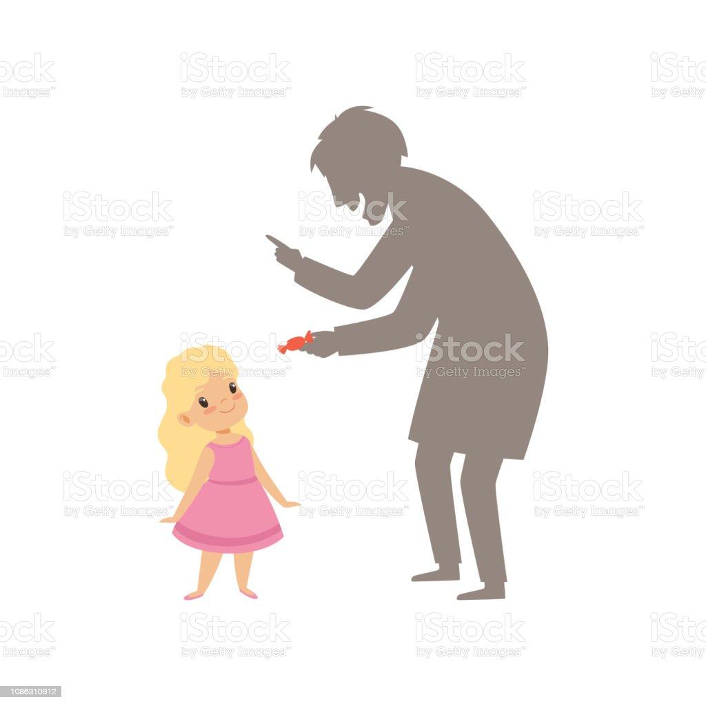 Verdächtigen fremden bietet ein Bonbon, einem kleines Mädchen, Kind in gefährliche Situation Vektor Illustration auf weißem Hintergrund – Vektorgrafik