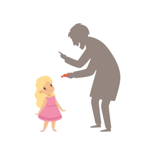 suspicious stranger offering a candy to a little girl, kid in dangerous situation vector illustration on a white background - child abuse stock illustrations