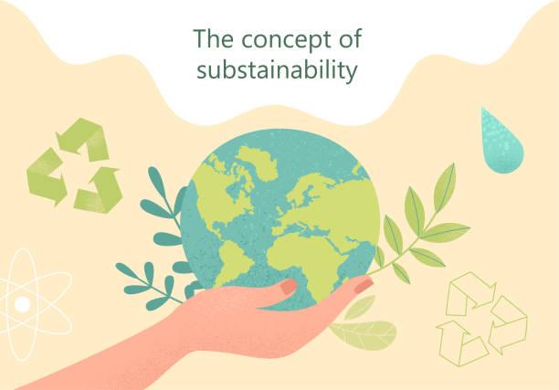bildbanksillustrationer, clip art samt tecknat material och ikoner med hållbarhetskoncept. vektor illustration - miljö
