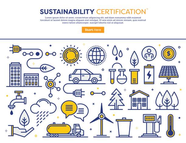 Sustainability Consulting Concept Line vector illustration of sustainability standards and services. Banner/Header Icons. solar panels illustrations stock illustrations