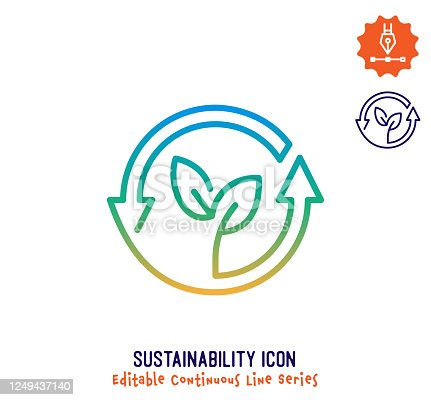 istock Sustainability Continuous Line Editable Icon 1249437140