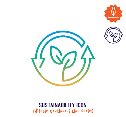 Sustainability Continuous Line Editable Icon