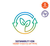 istock Sustainability Continuous Line Editable Icon 1249437140