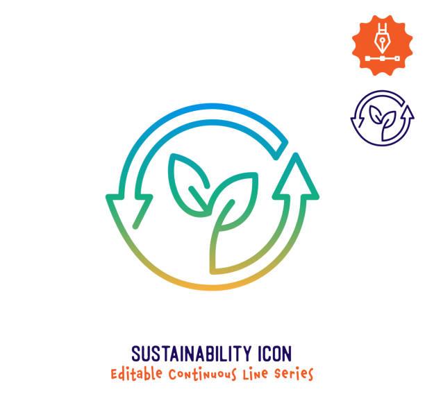 sustainability continuous line editable icon - klimaschutz stock-grafiken, -clipart, -cartoons und -symbole