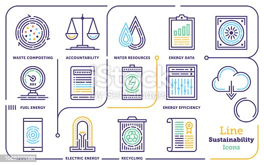 Line icon vector illustrations of sustainability and governance.