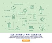 Line vector illustration of sustainability intelligence. Banner/Header Icons.