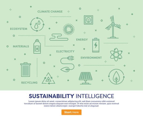 nachhaltigkeitskonzept intelligenz - klimaschutz stock-grafiken, -clipart, -cartoons und -symbole