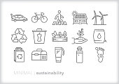 Set of 15 sustainability icons for lowering carbon footprint, reducing waste, reusing and recycling