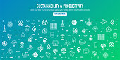 Sustainability and productivity outline style web banner design with memphis decorations. Line vector icons for infographics, mobile and web designs.
