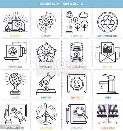 Sustainability icons set. These line style vector illustrations represent sustainability and environmental resources management.