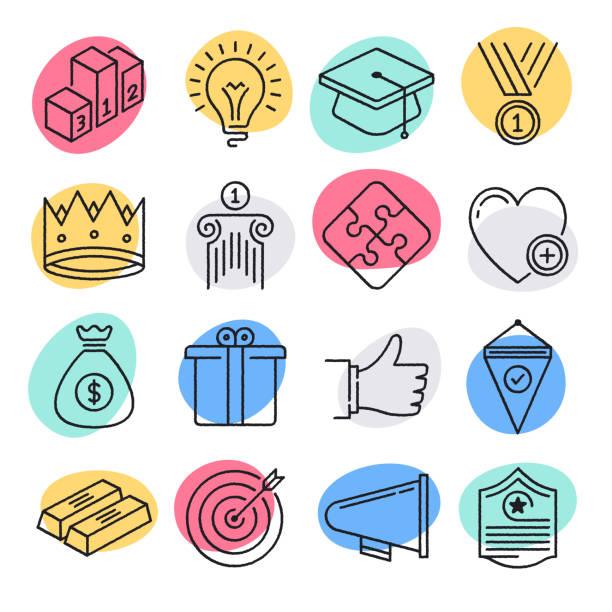 ilustrações, clipart, desenhos animados e ícones de objetivos de negócio sustentáveis doodle jogo do ícone do vetor do estilo - entrepreneurship