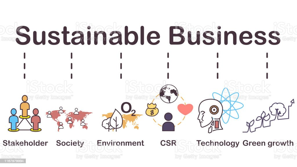 Sustainable business icon, Stakeholder, society, environment, CSR,...