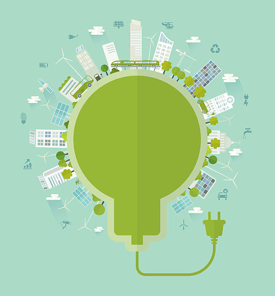 sustainable city bulb concept including icons set - energy saving stock illustrations, clip art, cartoons, & icons