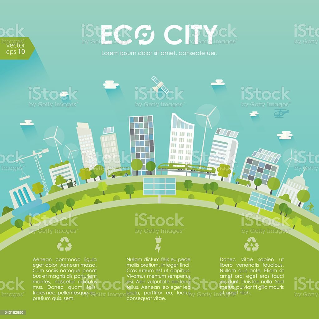 Sustainable City Concept Stock Vector Art Amp More Images Of