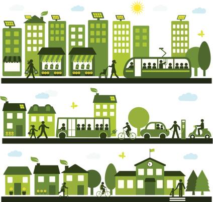green transportation stock illustrations