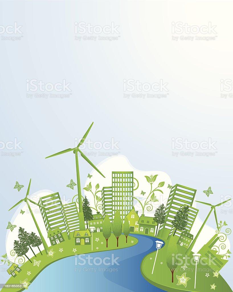 Sustainable City vector art illustration