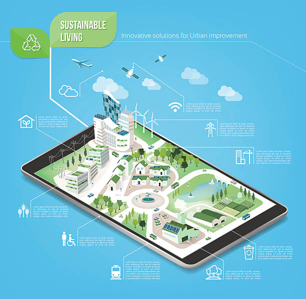 Sustainable city Sustainable city on a digital touch screen tablet with icons set on architecture and environmental care augmented reality sustainable stock illustrations