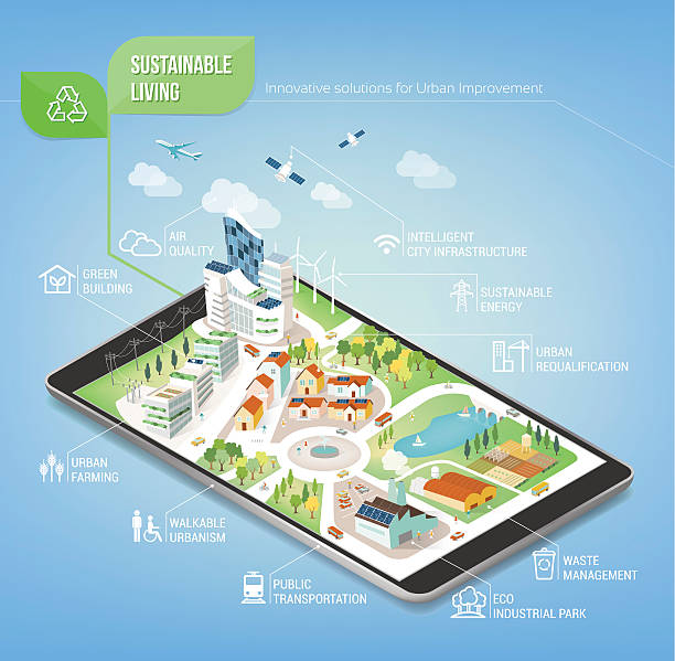 Sustainable city Sustainable city on a digital touch screen tablet with icons set on architecture and environmental care urban gardening stock illustrations