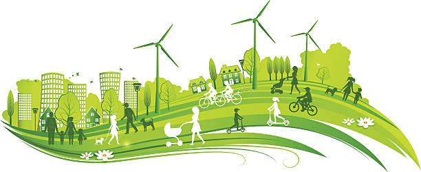 環境に優しい街 - 環境問題点のイラスト素材/クリップアート素材/マンガ素材/アイコン素材