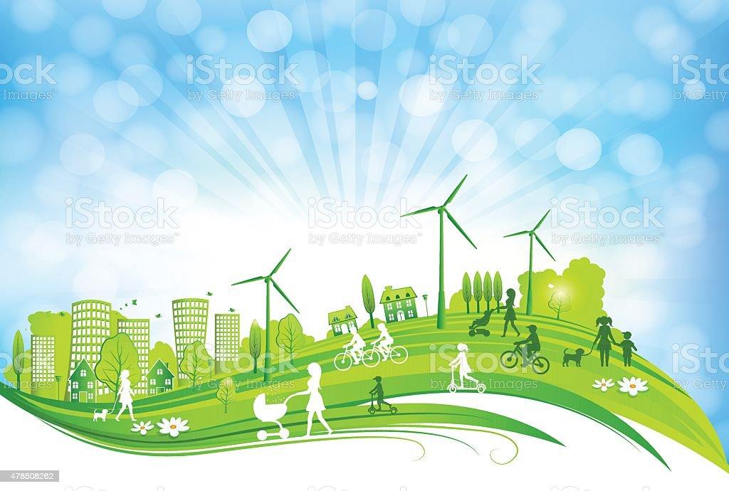 Sustentável da cidade - ilustração de arte em vetor