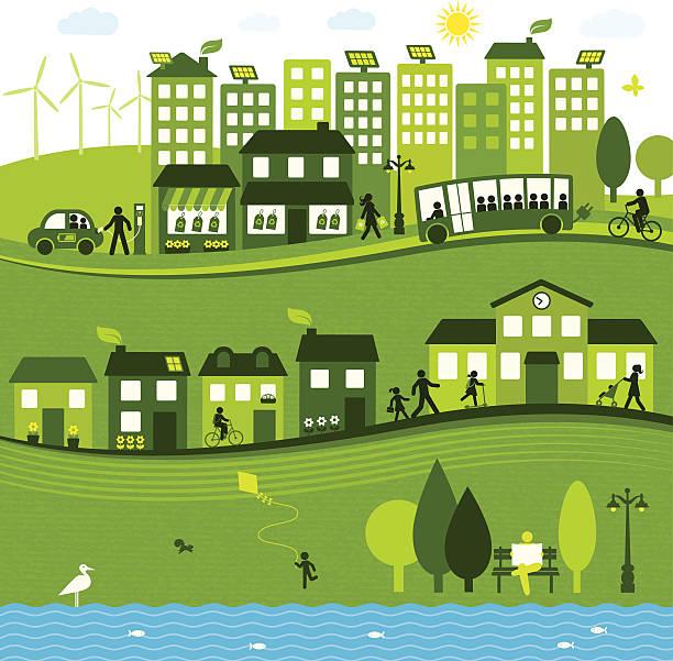 ilustraciones, imágenes clip art, dibujos animados e iconos de stock de sostenible de la ciudad - autobuses escolares