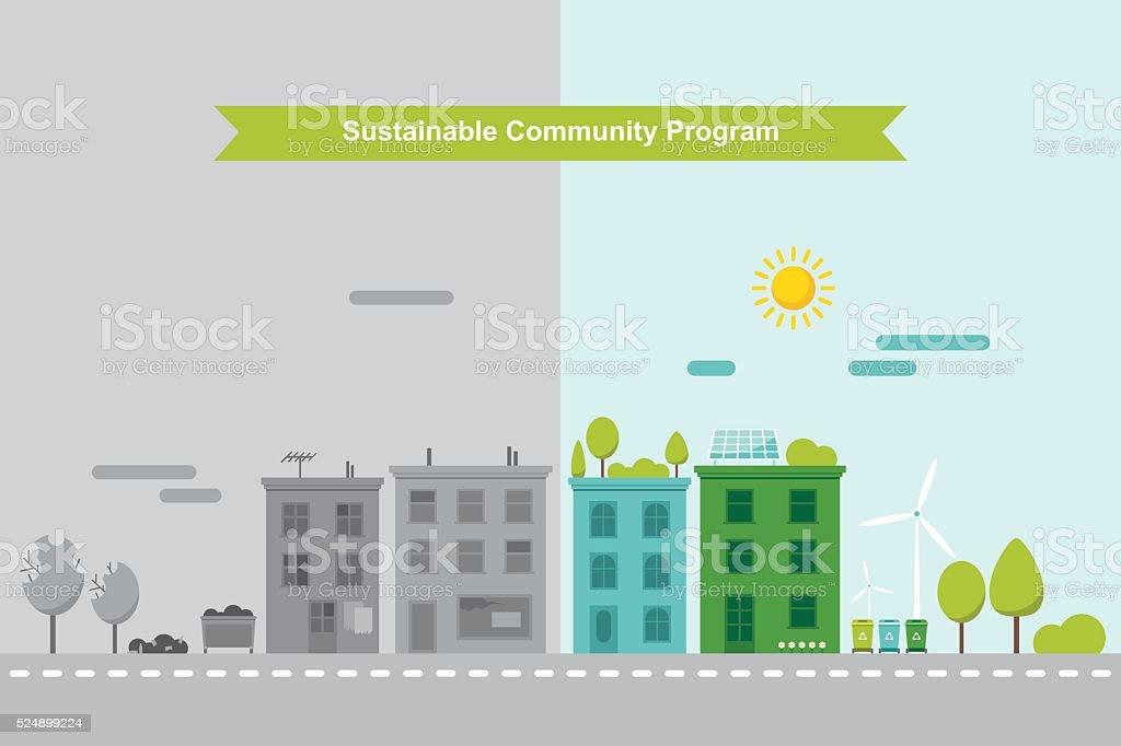 Nachhaltigen Gemeinde-Konzept - Lizenzfrei Baum Vektorgrafik
