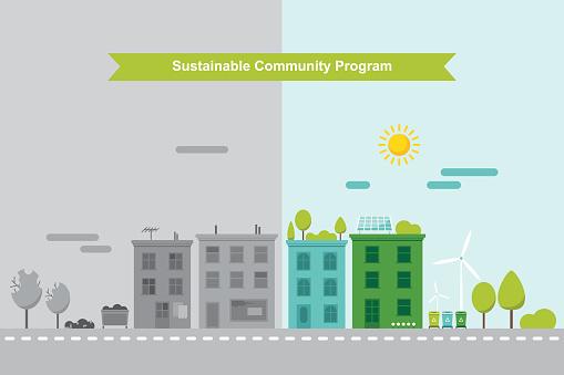 Nachhaltigen Gemeindekonzept Stock Vektor Art und mehr Bilder von Baum