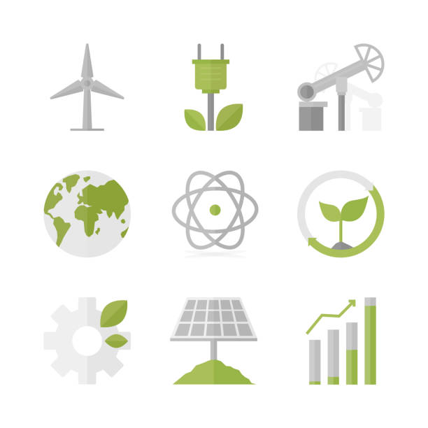 Sustainable development and green production flat icons set Flat icons set of natural renewable energy, green power production, solar panel and wind turbine energy source. Flat design style modern vector illustration concept. Isolated on white background. sustainable energy stock illustrations