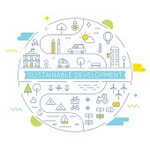 Sustainable Development and Sustainable Living Implementation Concept Line Art Vector Flat Illustration