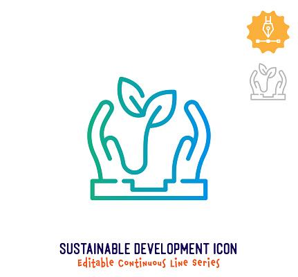 Sustainable Development Continuous Line Editable Icon