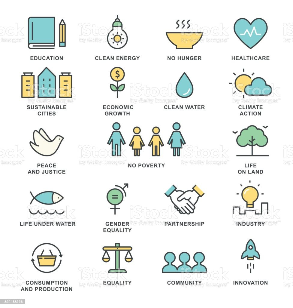 Sustainable Development Goals and Sustainable Living Implementation Concept Line Art Vector Icons vector art illustration