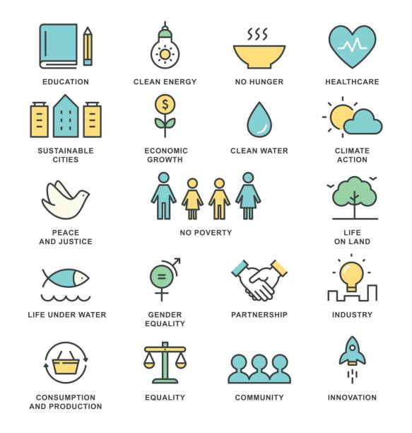 Sustainable Development Goals and Sustainable Living Implementation Concept Line Art Vector Icons Sustainable Development Goals and Sustainable Living Implementation Concept Line Art Vector Icons. economic reform stock illustrations