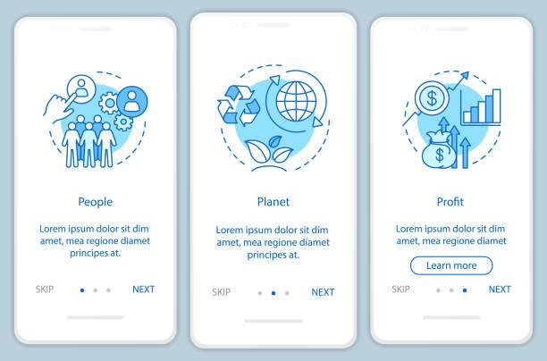 stockillustraties, clipart, cartoons en iconen met duurzame ontwikkeling onboarding mobiele app pagina scherm vector template - winst