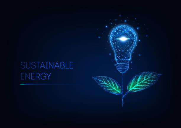 bildbanksillustrationer, clip art samt tecknat material och ikoner med hållbart energikoncept. futuristisk glödande låg poly blomma gjord av glödlampa och gröna blad. - swedish nature