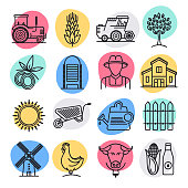 Sustainable food production doodle style concept outline symbols. Line vector icon sets for infographics and web designs.