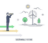 Symbolic presentation template of a businessman looking through telescope, seeing wind power as sustainable energy resource. Line style vector drawing.