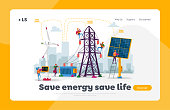 Sustainable Green Energy Development, Environmental and Ecology Protection Landing Page Template. New Technologies, Solar Panel, Windmill, Electric Tower. Cartoon People Characters Vector Illustration