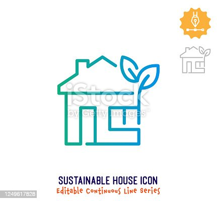 istock Sustainable House Continuous Line Editable Icon 1249617828