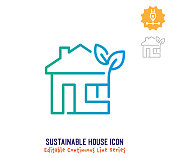 Sustainable house vector icon illustration for logo, emblem or symbol use. Part of continuous one line minimalistic drawing series. Design elements with editable gradient stroke.