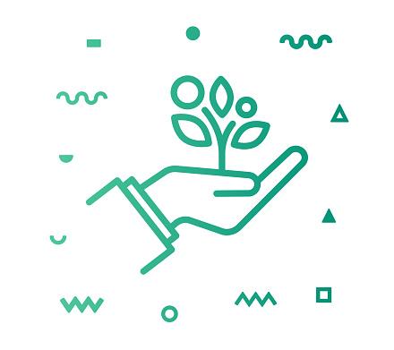 Sustainable Lifestyle Line Style Icon Design
